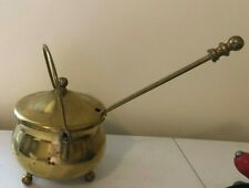 New listing Vintage Brass Smudge Pot Fire Starter & Pumice Wand Lidded Footed Brass Bowl