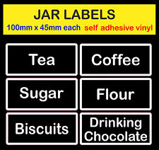 black / white text Tea Coffee Sugar Storage JAR LABEL adhesive vinyl sticker