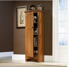 Oak Finish Pantry Storage Cabinet Shelving Laundry Closet Utility Kitchen  Media