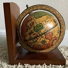 Vintage Old World Terrestrial Zodiac Wooden Globe Book End Made In Italy