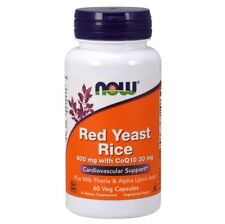 Now Foods RED YEAST RICE 600mg with CoQ10 30 mg 60 Veg Capsules