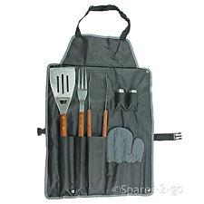 Bbq Tool Set De Cocina Delantal barbacoa-Pinzas Tenedor Espátula Mango De Madera Herramientas