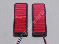 2x Universal Rectangle Reflector LED Red Rear Tail Brake Stop Lights Car Truck