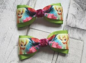 Disney Tinkerbell Handmade Hair bow clips girls Hair accessories.