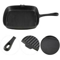 """Black Cast Iron Square BBQ Barbeque Grill Fry Pan 10"""" Griddle Nonstick"""