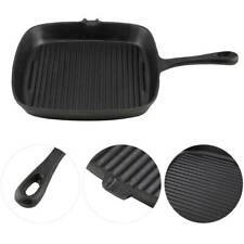 "Black Cast Iron Square BBQ Barbeque Grill Fry Pan 10"" Griddle Nonstick"