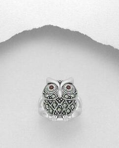 MARCASITE STERLING SILVER RING Owl animal nature GENUINE free shipping bird