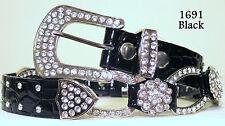 Chic & Sexy Rhinestone Crystal Croco Bling Belt Black Size Large