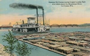 LA CROSSE WI -Steamer Kit Carson Towing Largest Lumber Raft Taken on Mississippi