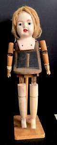 """Antique 1917-1920 Harry H. Coleman Walking 28"""" Doll BABS Wood and Metal Mesh"""