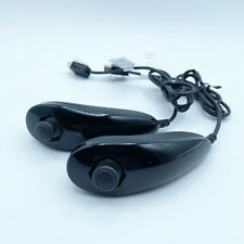 2 OEM Authentic Nintendo Wii Nunchuck Black Clean
