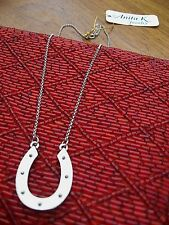 "Anita K Necklace Horseshoe Dixie Spiked Silver Nickel Matte Plated 14"" Chain NWT"