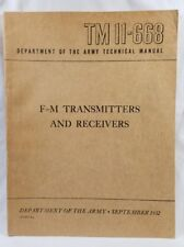 Us Army F-M Transmitters And Receivers Tm 11-668 Sept. 1952 Book