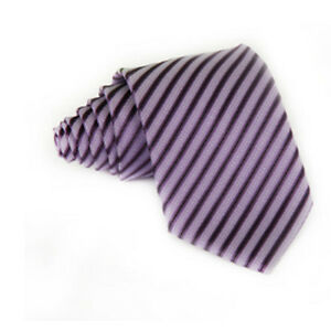 Shades of Purple & Black Hand Woven 100% Pure Silk Tie with  Diagonal Stripes