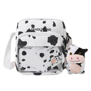 Canvas Women Cow Print Clear Splicing Pendant Shoulder Crossbody Bags (2)