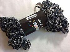 S Charles Collezione Za Za #14 Black with White & Blue Zig Zag Ribbon Yarn 50gr