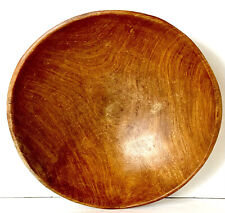 brown african ethnic tribal wooden hand carved calabash bowl
