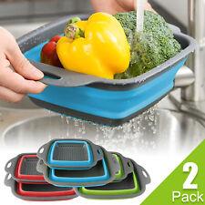 2Pcs Foldable Collapsible Colander Fruit Vegetable Wash Drain Basket Strainer US