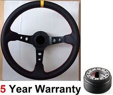 LEATHER STEERING WHEEL & BOSS KIT FIT LAND ROVER DEFENDER 90 110 130 200 300 TDI