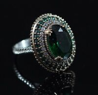 925 Sterling Silver Handmade Gemstone Turkish Emerald Ladies Ring Size 6-10
