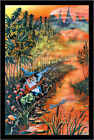 Laminated Gnome Fishin' by Mike Dubois Non-Flocked Blacklight Poster 24.5 x 36.5