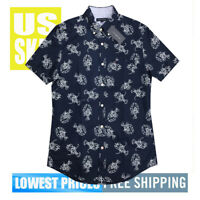 Tommy Hilfiger Men's NWT LOBSTERS on Navy Button Up SH Sleeve Shirt MEDIUM