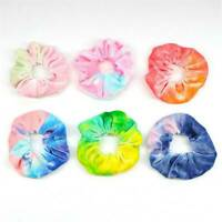 Soft Rainbow Velvet Scrunchies Tie-dye Hair Ring Rubber Band Elastic Hair Rope#