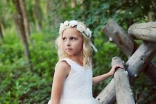 White Floral flower head crown or headband for flower girls and first communion