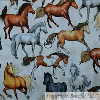 BonEful Fabric FQ Cotton Quilt White Brown Black B&W Horse Animal Farm Girl Boy