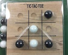Travel Size Tic Tac Toe Solid Wood Board 10 Glass Marbles 4 inch x 4 inch 2005