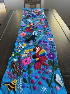 Parrot Animals Floral Mexican Embroidered Table Runner Chiapas 60x16 Blue Color
