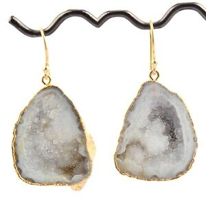 White Natural Crystal Geode Druzy Gold Plated Handmade Drop Dangle Drusy Earring
