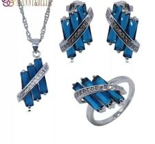 Beautiful Blue Sapphire White Topaz Sterling Silver Earrings Necklace Ring Set