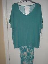 NWT APT 9 Women's 2 Piece Pajama Set~ Teal Lace  Top & Floral Bottom  2x