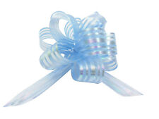 Light Blue Pom Pom Bow Small x 1 Organza
