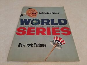 1958 World Series Milwaukee Braves VS N.Y. Yankees Program VG Scored Hank Aaron