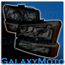 03-06 Chevy Silverado SMOKE LENS CHROME AMBER Crystal HEADLIGHT+BUMPER LIGHT Set