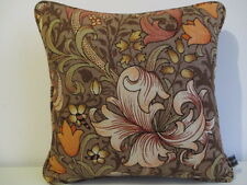 Cushion Cover Vintage Morris Sanderson Linen Fabric Golden Lily Brown Rust Piped