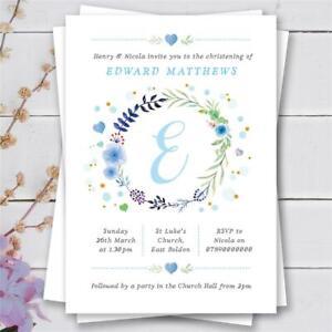 25 Personalised christening baptism naming day birthday invitations boy blue