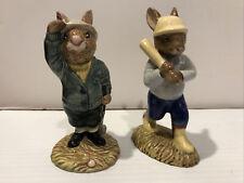 "Vtg Royal Doulton Figurine Bunnykins Sports Home Run Bogey Lot 1984 1985 4"""