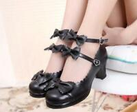 Women Lolita Cos Sweet Bowknot Pricess Ankel Strappy Block Round Toe Shoes Muk15