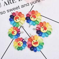 10Pcs/Set Resin Sun Flower Charms Pendant Jewelry Finding DIY Making Craft