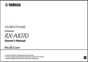 Yamaha RX-A1070 AV Receiver Owner's Manual - Operating Instructions - Full Color