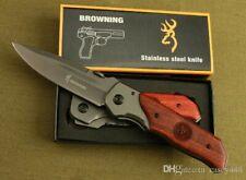 High quality!Browning DA30 Folding Knife Titanium Surface Hardwood inlay Handle