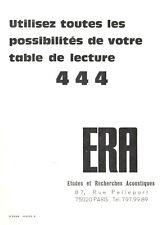 ERA 444 - Documentation table de lecture - Réglage du bras - Platine vinyles *