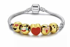 Emoji Charm Bracelet - 18K Yellow Gold Plated Beads - 5 Charms