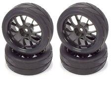 Apex RC Products 1/10 On-Road Black Mesh Wheels / V Tread Tires #5002