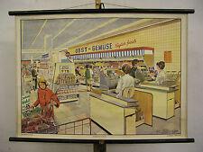 Schulwandkarte Wandbild Selbstbedienungsladen Discounter Geschenk Jubiläum 90x64