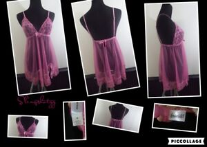 """*Frederick's of Hollywood* Wmn's """"M"""" Pink Lace Sheer Unlined Babydoll Teddie"""