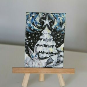 "ACEO ""White Christmas"" Artist original Acrylic painting canvas OOAK USA tree"